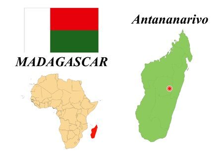 republic of madagascar. Capital Of Antananarivo. Flag Of Madagascar. Map of the continent of Africa with country borders. Vector graphics.