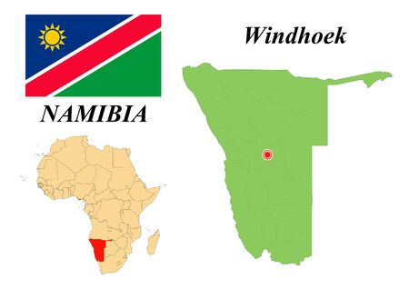 Republic of Namibia. Capital Of Windhoek. Flag Of Namibia. Map of the continent of Africa with country borders. Vector graphics.