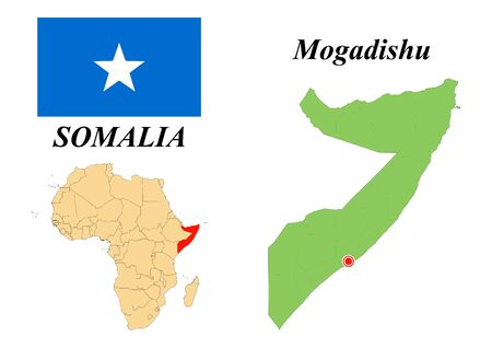 The Federal Republic of Somalia. Capital of Mogadishu. Flag of Somalia. Map of the continent of Africa with country borders. Vector graphics.