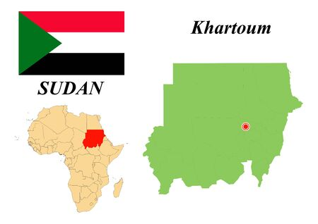 Republic of Sudan. The Capital Is Khartoum. Flag of Sudan. Map of the continent of Africa with country borders. Vector graphics.