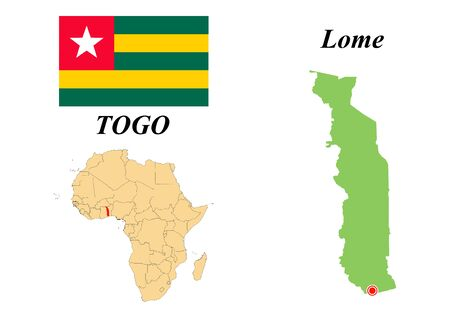 Togolese Republic. The Capital Of Lome. Flag Of Togo. Map of the continent of Africa with country borders. Vector graphics.