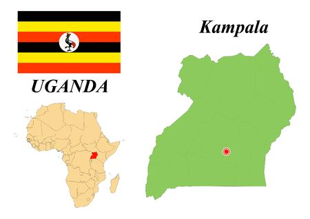 Republic of Uganda. Capital of Kampala. Flag of Uganda. Map of the continent of Africa with country borders. Vector graphics. 일러스트
