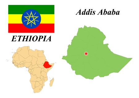 Federal Democratic Republic of Ethiopia. The Capital Is Addis Ababa. Flag of Ethiopia. Map of the continent of Africa with country borders. Vector graphics.