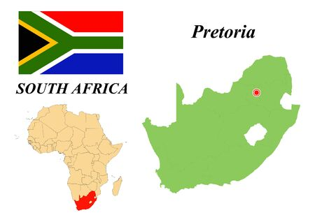 South africa. The Capital Is Cape Town. Flag of South Africa. Map of the continent of Africa with country borders. Vector graphics.