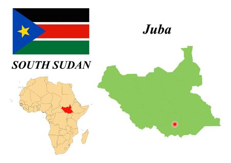 Republic Of South Sudan. Capital of Juba. Flag of The Republic of South Sudan. Map of the continent of Africa with country borders. Vector graphics. Иллюстрация