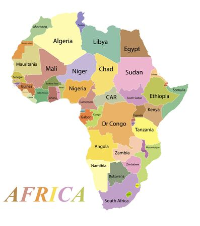 Map of the continent of Africa. Color silhouette with borders and country names. Equatorial Guinea and Gabon and Botswana and Algeria and South Africa and Egypt and Tunisia and Namibia. White background. Vector graphics. Vector Illustration
