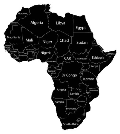 Map of the continent of Africa. Black silhouette on a white background with borders and country names. Equatorial Guinea and Gabon and Botswana and Algeria and South Africa and Egypt and Tunisia and Namibia. Vector graphics. Vector Illustration