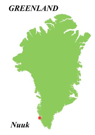 Vector map of Greenland with its capital. On white background.