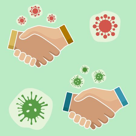 Firm handshake. Conclusion of the transaction and confirmation of the partnership. Careful, it's a coronavirus infection. COVID-19 virus. Image of hands. Vector graphics. Stock Illustratie
