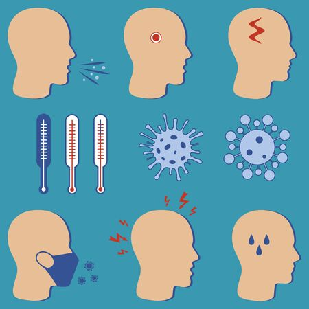 No infection and stop the virus. Isolated vector icons. Icons for promoting covid-19 hygiene with wearing a face mask. Measurement of body temperature using a thermometer. The symptoms of the disease and prevention infographic illustration.