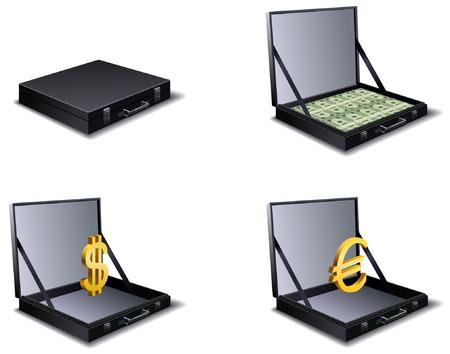 business case: Vector set of four business case. Illustration