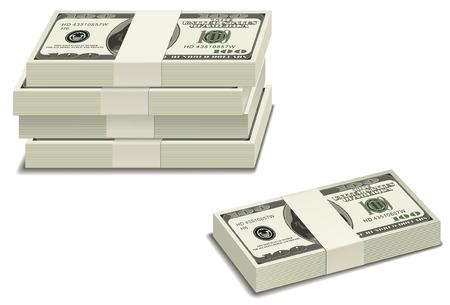 pile papier: Pile de billets de 100 $. Facile � �diter et modifier.