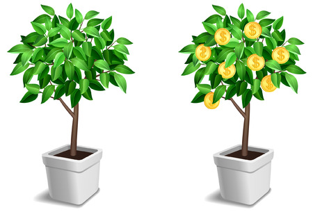 gold money: Vector set of two little tree. Illustration