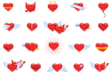 Vector set of icons representing hearts. Illustration