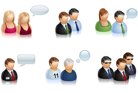 set of icons representing group of people. Vector