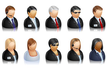 retort: Vector set of icons representing business people.