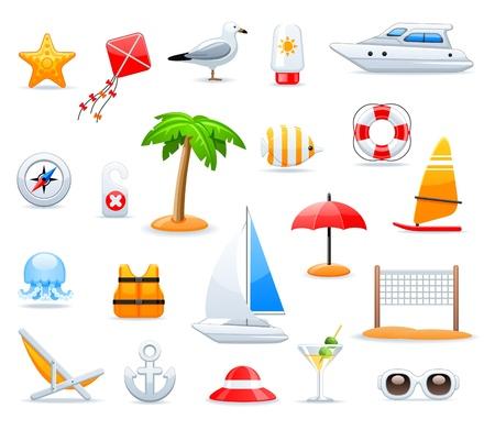 sun tan: conjunto de iconos de verano y viajes Vectores