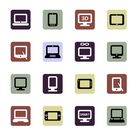 electronic devices icons set Illustration
