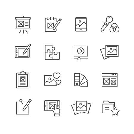 Set of vector web development line icons