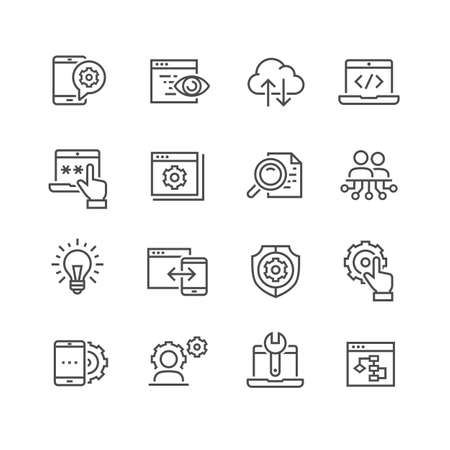 Data analysis vector icons set