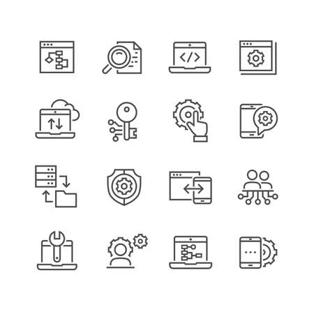 Data analysis vector icons set