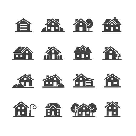house and city icon set