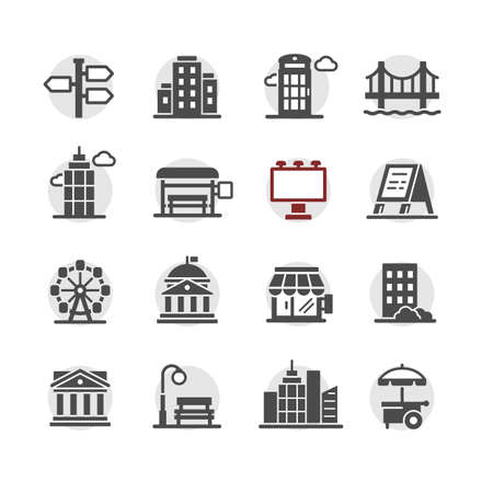 city infrastructure icons vector set