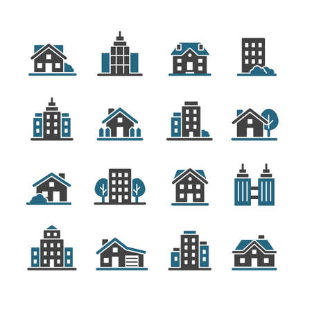 Architecture city vector icon set
