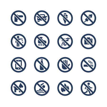 prohibition signs vector icon set