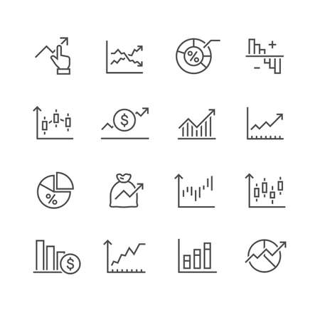 diagram and graphs related vector icons