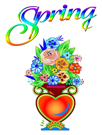 Spring Flowers in vase Illustration