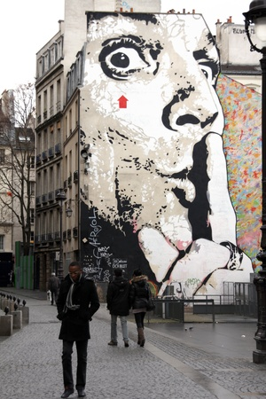 Paris, February 13, 2012 - Mural on the wall near museum of  Pompidou  Stock Photo - 12779511