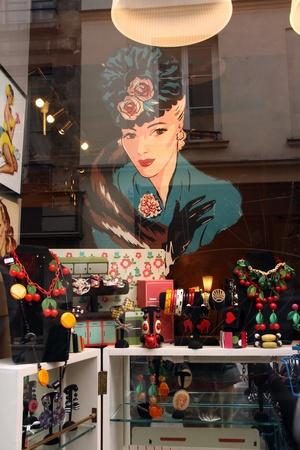 window display: Paris, February 14, 2012 - Window display of vintage jewelry Editorial