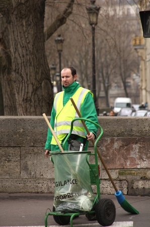 sweeper: Paris, February 13,  2012 - Street Sweeper