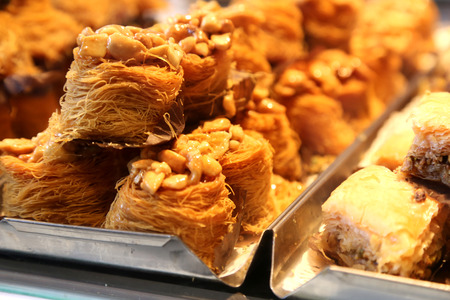 Traditional Turkish Dessert sweet pastry with nuts