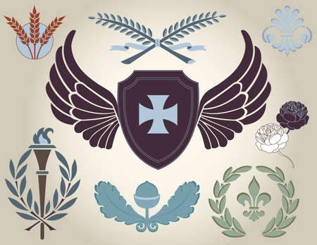 Crest and heraldry, design elements Vector