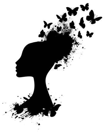 femme papillon: Silhouette profil d'une femme africaine avec des papillons �clater Illustration
