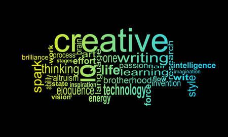 összpontosított: Tipográfia Cloud összpontosított távú Kreatív, fejléc Illusztráció