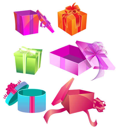 Set of colorful gift boxes with ribbons and bows Stock Vector - 12403153