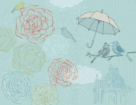 Rain Poster met rozen, vogels en historische kathedraal in de verte Stockfoto - 12403158