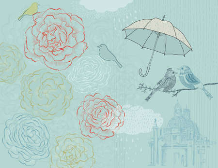 postcard background: Rain Poster with roses, birds and landmark cathedral in the distance