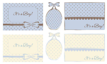 It s a Boy  Cards and Baby Frames, Set of 6 Stock Vector - 12493616