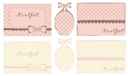 It s a Girl  Cards and Baby Frames, Set of 6 Stock Vector - 12493615