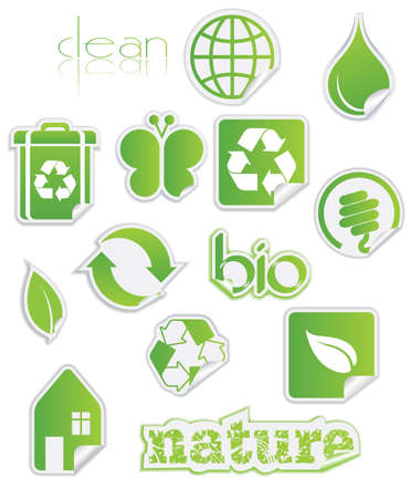 Peel-off nature and recycling stickers in fresh bright green