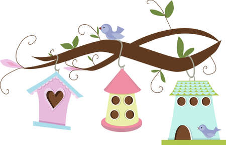 Cute birdhouses hanging on tree branches Ilustracja