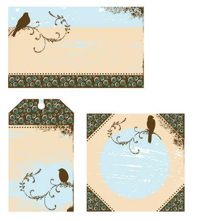 Grungy vogel etiketten met merel neergestreken op een tak
