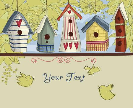 oiseau dessin: Rangée de nichoirs colorés, avec des oiseaux et des fleurs, fond