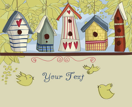 aves: Row of colorful birdhouses, with birds and flowers, background