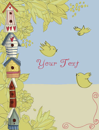 warm house: Colorful birdhouses stacked vertically, with birds and flowers, background Illustration