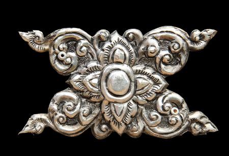 lanna: Decorative Art of Lanna Thai silver carving art on temple wall